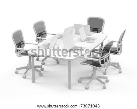 Conference table with opened  laptops on white background - stock photo