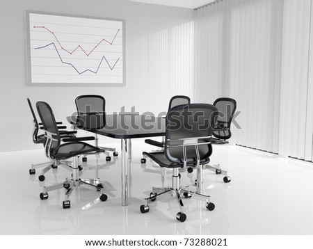 Conference table with six chairs in conference room - stock photo
