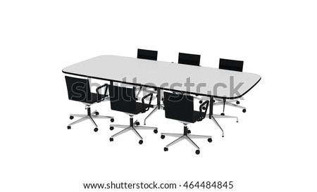 Conference table with six chairs, office furniture isolated on white background, 3D illustration