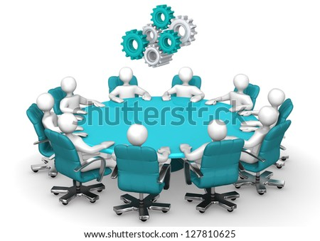Conference table with swivel armchairs and gears. - stock photo