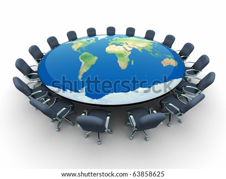 Conference table with world map - this is a 3d render illustration - stock photo
