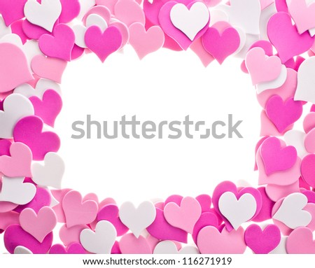 confetti, a lot of hearts in different colors. laid out in the form of ornament as a frame. isolated on white background - stock photo