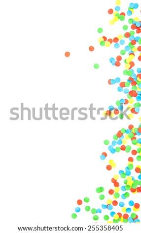 Confetti background texture. All on white - stock photo