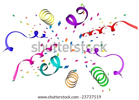 Confetti explosion in different colors over white background - stock photo