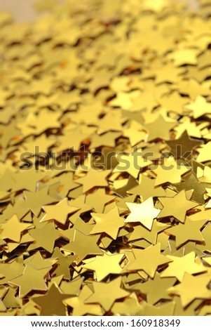 Confetti in the form of gold stars - stock photo