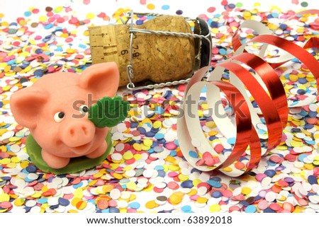 confetti, pig, happy new year - stock photo