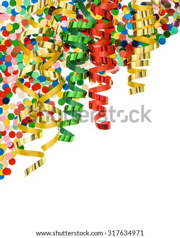 Confetti with shiny streamer over white background. Party decoration - stock photo