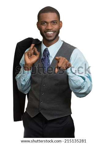 Confidence, charisma, excellence. Closeup portrait cheerful young man in full suit, pointing finger at you looking at camera isolated white background. Human face expression, emotion, body language
