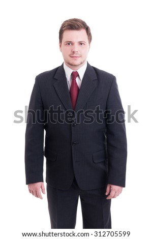 Confident accountant or financial manager standing isolated on white - stock photo