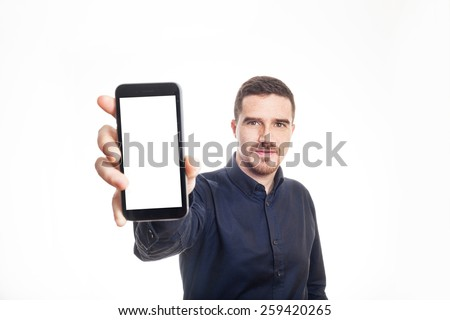 Confident Adult Man Showing a Mobile Phone White Background - stock photo