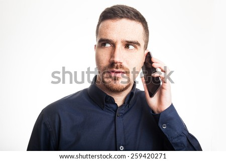 Confident Adult Man Talking on the Mobile Phone - stock photo