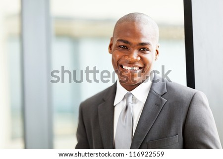 confident african american business executive portrait in office - stock photo