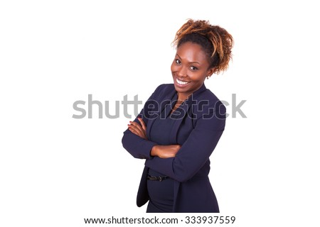 Confident African American business woman with folded arms, isolated on white background