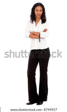 confident african business woman standing upwearing elegant clothes - isolated over a white background - stock photo