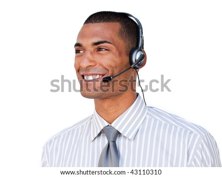 Confident Afro-american customer service agent with headset on isolated on a white background