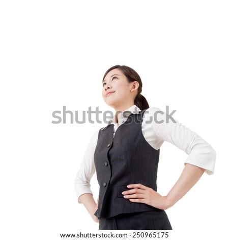 Confident Asian business woman, closeup portrait on white background. - stock photo
