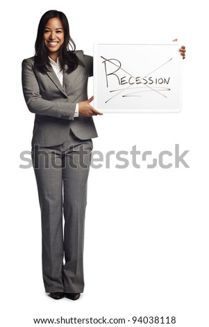 Confident asian business woman displaying sign - Recession no longer in effect - stock photo