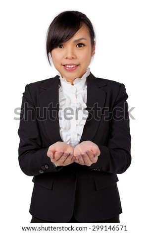 confident asian business woman showing something  - stock photo
