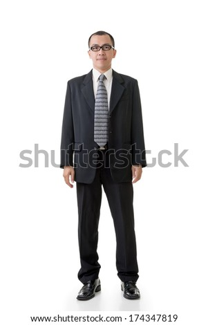 Confident Asian businessman, full length portrait isolated on white background. - stock photo