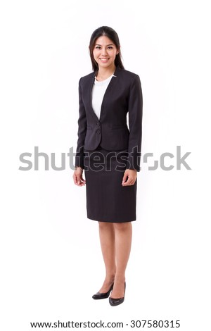confident asian businesswoman full length standing isolated - stock photo