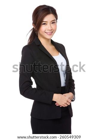Confident asian businesswoman on a white background - stock photo