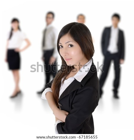 Confident Asian leader with business team over white. - stock photo
