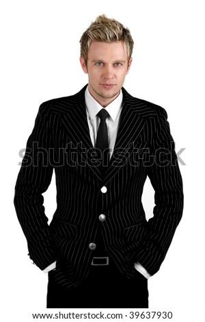 Confident attractive and stylish young business man isolated on white - stock photo
