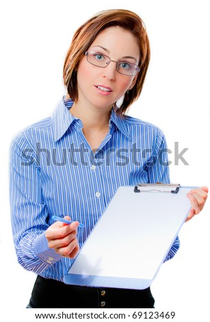 Confident attractive businesswoman offering to sign a document