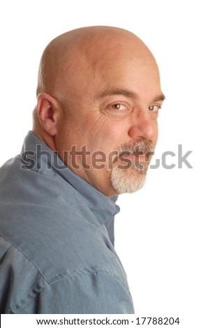 confident bald man looking over his shoulder isolated on white background