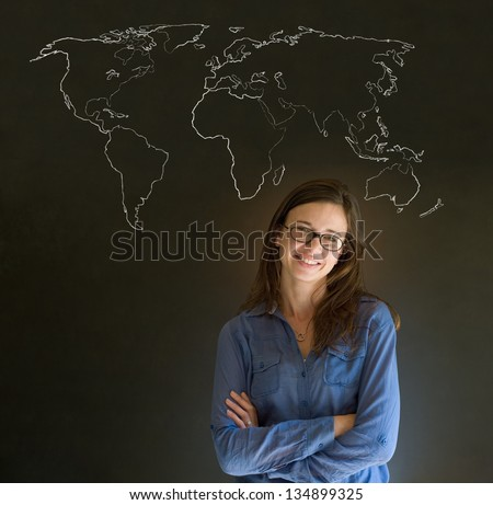 Confident beautiful business woman, teacher or student with chalk geography world map on blackboard background - stock photo