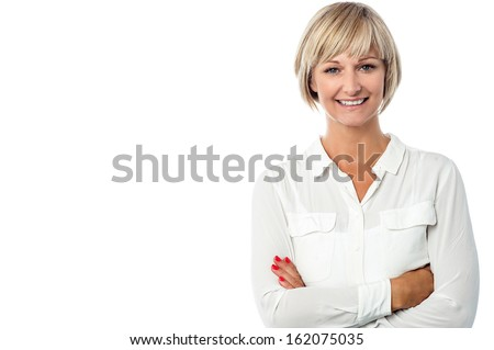 Confident beautiful isolated businesswoman - stock photo