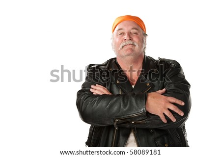 Confident biker gang member with leather jacket