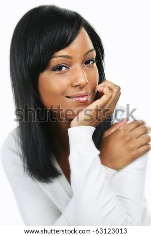 Confident black woman portrait isolated on white background