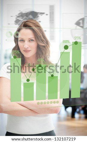 Confident blonde businesswoman using green chart interface with statistics