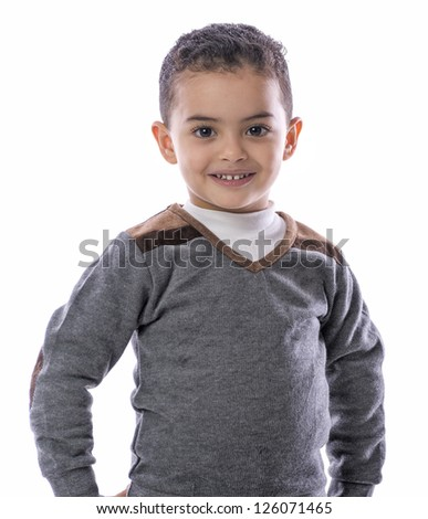 Confident Boy Standing with a Smile Isolated on White Background - stock photo