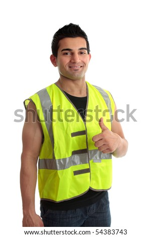 Confident builder,  handyman, tradesman, repairman, giving a thumbs up approval success gesture.   White background - stock photo