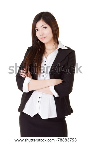 Confident business executive woman of Asian, half length closeup portrait on white background. - stock photo