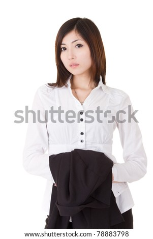 Confident business executive woman of Asian standing and holding her coat, half length closeup portrait on white background. - stock photo