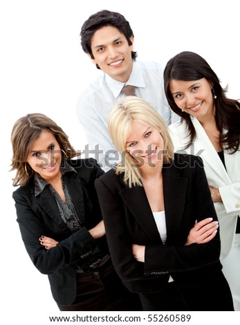 Confident business group smiling isolated over a white background - stock photo