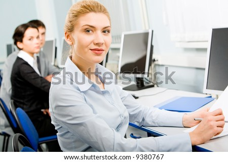 Lady Sitting at Computer Business Lady Sitting by