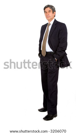 confident business man - full body over white background - stock photo