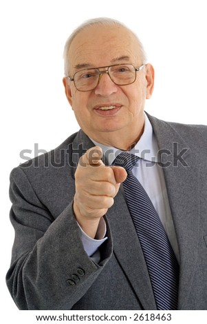 Confident business man gesturing that he wants you in his team