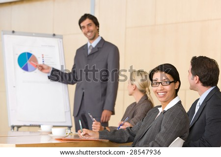 confident business man giving presentation to colleauges