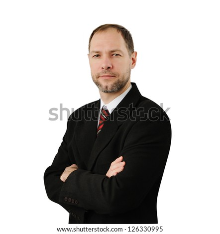 Confident business man in suit isolated on white background - stock photo