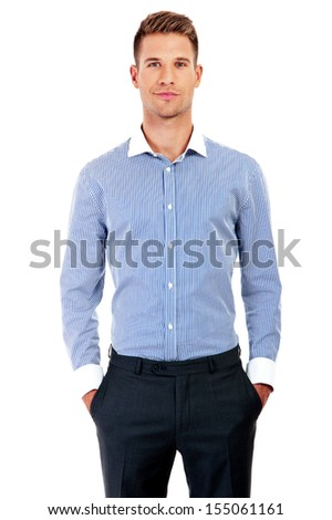 Confident business man - isolated over - stock photo