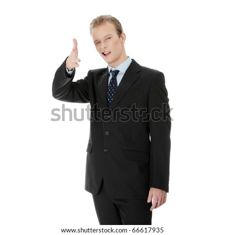 Confident business man pointing at You, isolated on white background