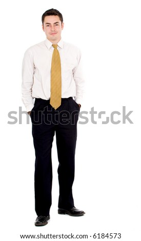 confident business man portrait standing - isolated over a white background - stock photo