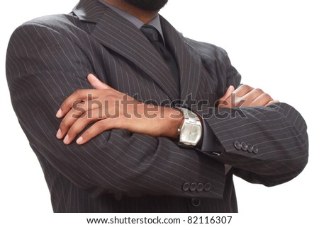Confident business man's hands - stock photo