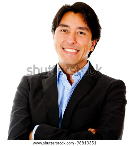 Confident business man smiling - isolated over a white background - stock photo