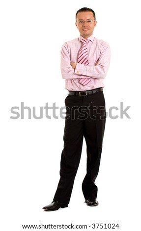 confident business man standing - isolated over a white background